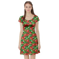 Colorful Pattern Of Fresh Red Strawberry Short Sleeve Skater Dress by CoolDesigns