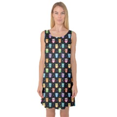 Black Pattern With Colorful Owls On Dark Sleeveless Satin Nightdress by CoolDesigns