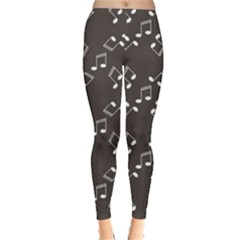 Black Music Elements Notes Web Flat Design Gray Pattern Women s Leggings by CoolDesigns