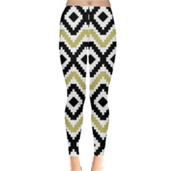 Olive Aztec Tribal Chevron Stripes Leggings