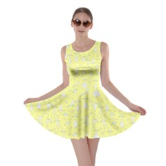 Light Yellow Cats On Black Pattern For Your Design Skater Dress