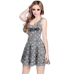 Gray Pattern With Little Cute Penguins On Blue Sleeveless Dress