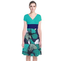 Teal Floral Short Sleeve Front Wrap Dress by CoolDesigns