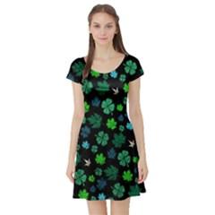 Shamrock Dark Short Sleeve Skater Dress by CoolDesigns