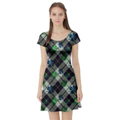 Shamrock Check Short Sleeve Skater Dress by CoolDesigns