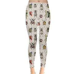 Gray Pattern With Watercolor Beetles Women s Leggings