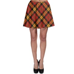 Red Textured Tartan Plaid Pattern Skater Skirt
