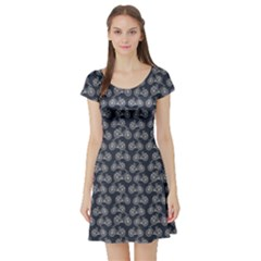 Blue Pattern With Outline Vintage Bicycles Short Sleeve Skater Dress