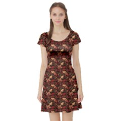 Red Pattern In The Russian Traditional Style Short Sleeve Skater Dress by CoolDesigns