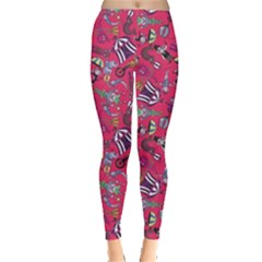 Red Circus Pattern Stylish Design Leggings by CoolDesigns