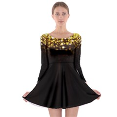 Xmas Golden Long Sleeve Skater Dress by CoolDesigns