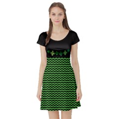 Shamrock Zigzag Short Sleeve Skater Dress by CoolDesigns