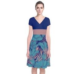 Navy Floral 2 Short Sleeve Front Wrap Dress