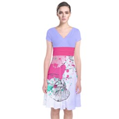 Colorful 3 Short Sleeve Front Wrap Dress by CoolDesigns