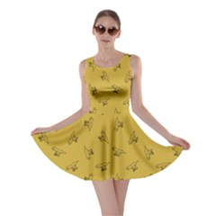 Dark Yellow Tyrannosaurus Dinosaur Doodle Pattern Skater Dress