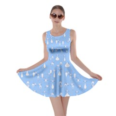 Light Blue Cats On Black Pattern For Your Design Skater Dress  by CoolDesigns
