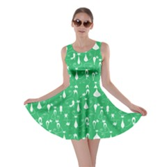 Green Lovely Cats Pattern Skater Dress by CoolDesigns