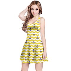 Yellow Sailor Tile Pattern With Anchor On Sleeveless Skater Dress by CoolDesigns