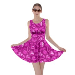 Hot Pink Yummy Colorful Sweet Lollipop Candy Macaroon Cupcake Donut Seamless Skater Dress  by CoolDesigns
