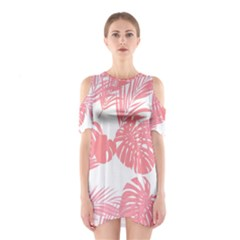 Pink Palm Tree Cutout Shoulder One Piece