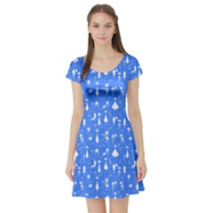 Sky Blue Cat Short Sleeve Skater Dress by CoolDesigns