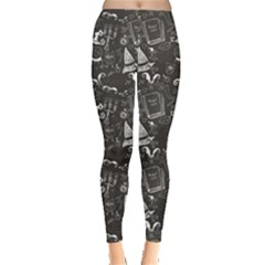 Black Chalkboard Halloween Pattern Women s Leggings by CoolDesigns