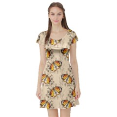 Nude Watercolor Butterfly Pattern Short Sleeve Skater Dress