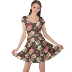 Colorful Pattern Of Tasty Cupcakes Cap Sleeve Dress