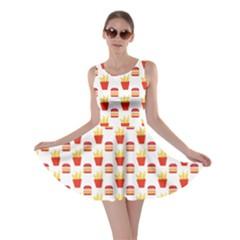 Pink Hamburger And Fries Pattern Skater Dress