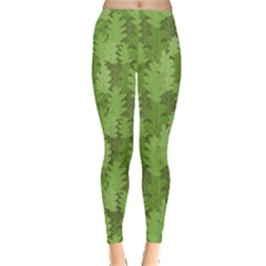 Green Green Leaves Repeating Pattern Leggings
