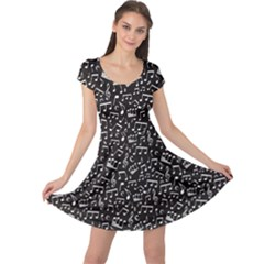 Black White Music Elements On Black Square Pattern Cap Sleeve Dress