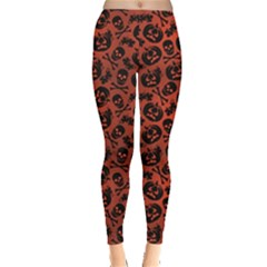 Brown Halloween With Pumpkin And Skeleton Pattern Women s Leggings by CoolDesigns