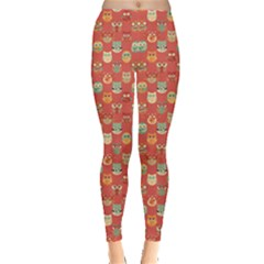 Brown Red Pattern With Owls Pattern Women s Leggings by CoolDesigns