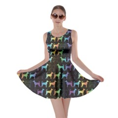 Colorful Bright Spectrum Pattern of Dog Silhouettes on Black Skater Dress by CoolDesigns