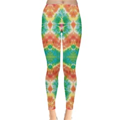 Green & Orange Tie Dye Leggings by CoolDesigns