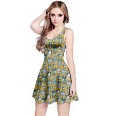 Dark Yellow Owl Pattern Sleeveless Skater Dress  by CoolDesigns