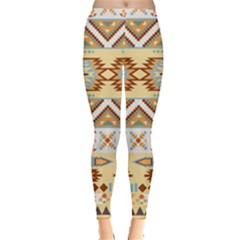 Yellow Tribal Aztec Leggings  by CoolDesigns