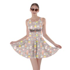 Gray Yummy Ice Cream Pattern Skater Dress by CoolDesigns