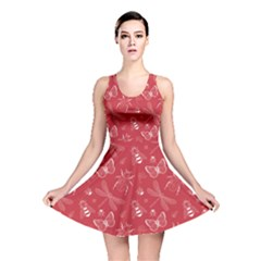 Red Insect Pattern Reversible Skater Dress  by CoolDesigns