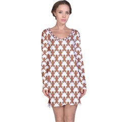 Brown Ginger Cookies Pattern Christmas Design Long Sleeve Nightdress by CoolDesigns