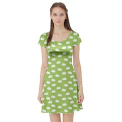 Green Pattern With White Bunnies Short Sleeve Skater Dress by CoolDesigns