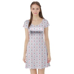 Gray Retro Pattern Polka Dot With Anchors Short Sleeve Skater Dress