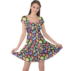 Colorful Colorful Watercolor Gem Pattern Cap Sleeve Dress