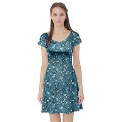 Blue Water Pattern Tree Cherry Blossom Sakura Nature Short Sleeve Skater Dress by CoolDesigns