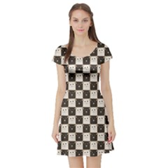 Black Chessboard Made Black And White Cats Short Sleeve Skater Dress by CoolDesigns