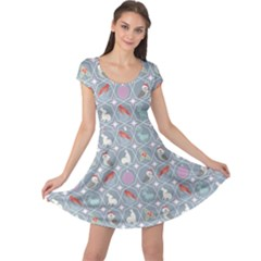 Blue Repeating Holiday With Christmas Ornaments And Wildlife Cap Sleeve Dress