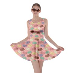 Pink Cute Retro Colored Macarons Pattern Skater Dress