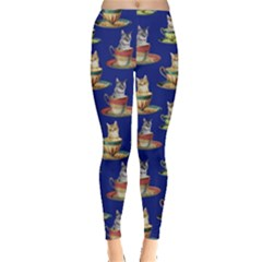 Cup Cat Navy Leggings  by CoolDesigns