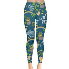 St Patrick Dark Mint Leggings  by CoolDesigns