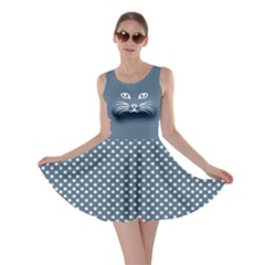 Blue Cat Dot Skater Dress by CoolDesigns
